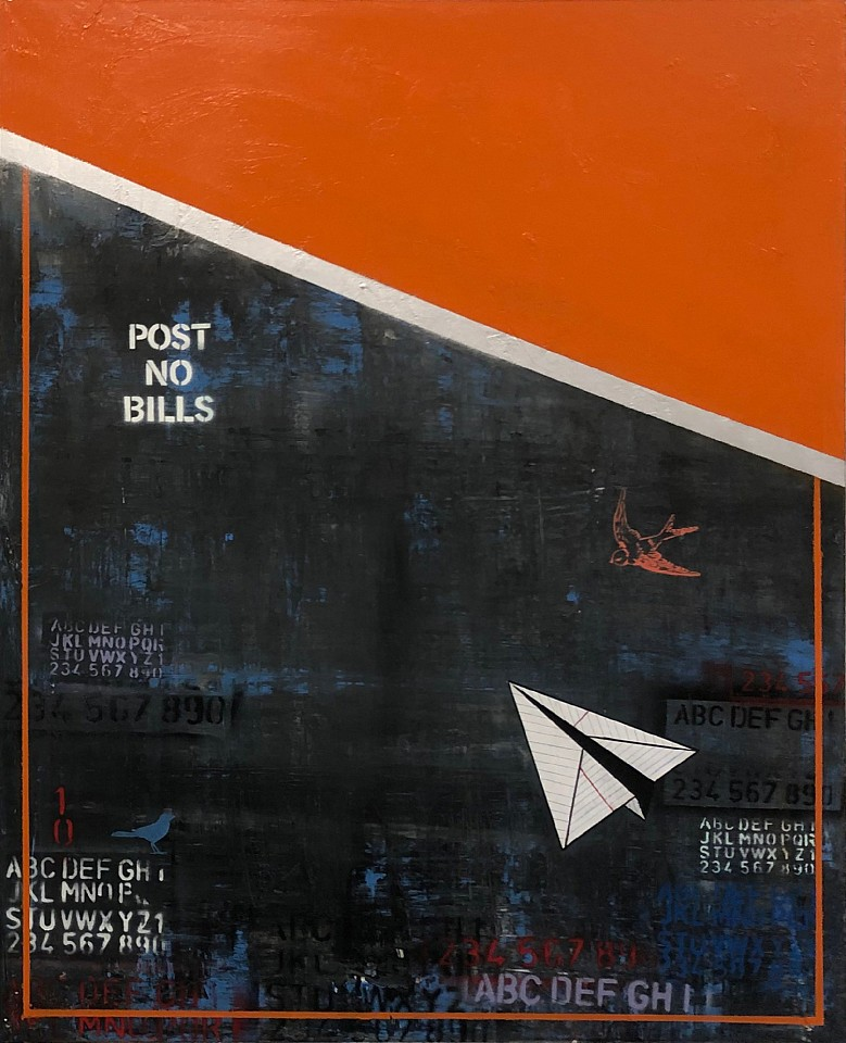 Guy Stanley Philoche ,   Orange with Paper Airplane  ,  2019     mixed media on canvas ,  48 x 60 in. (121.9 x 152.4 cm)     GSP190402