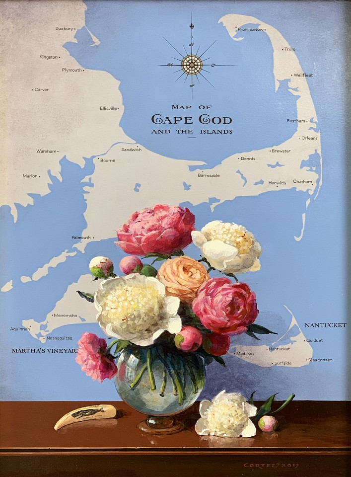 Jenness Cortez ,   Nantucket Peonies  ,  2019     acrylic on mahogany panel ,  17 x 12 in. (43.2 x 30.5 cm)     JC190601