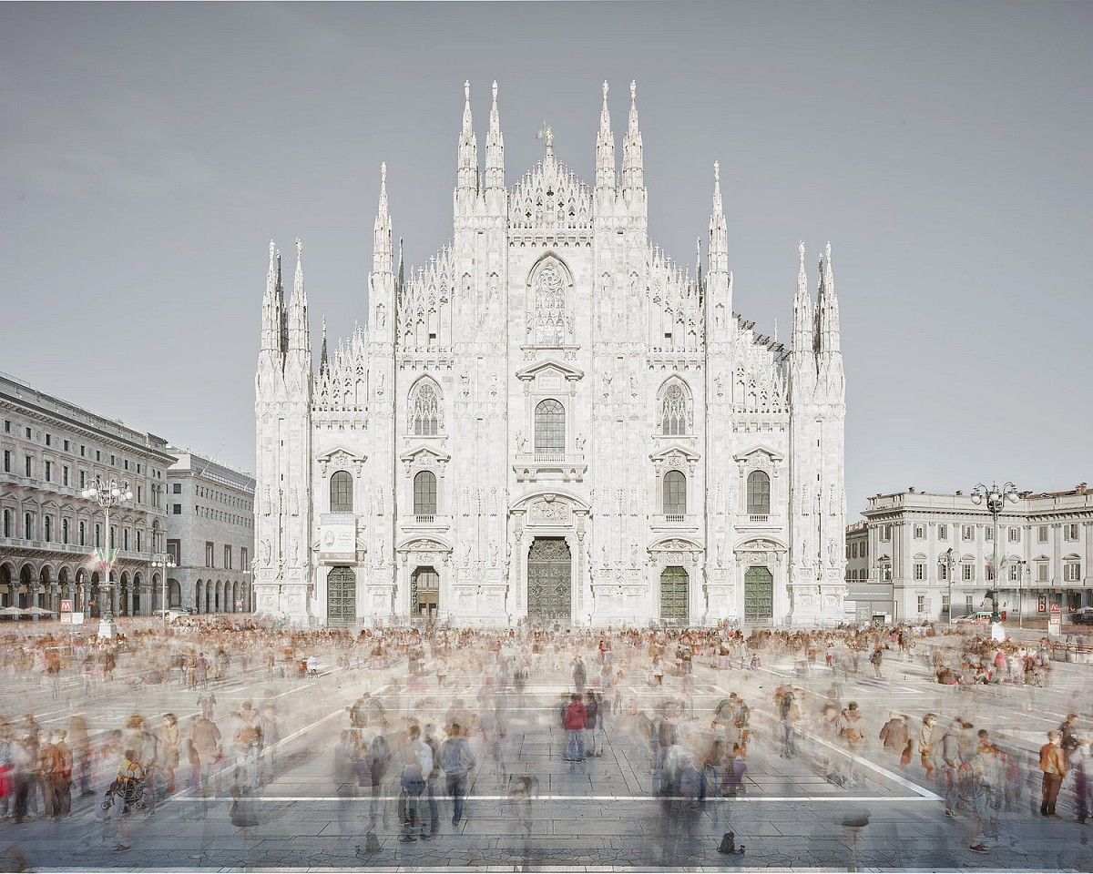 David Burdeny ,   Piazza of Shadows, Milan, Italy  ,  2016     archival pigment print ,  59h x 73 1/2w in