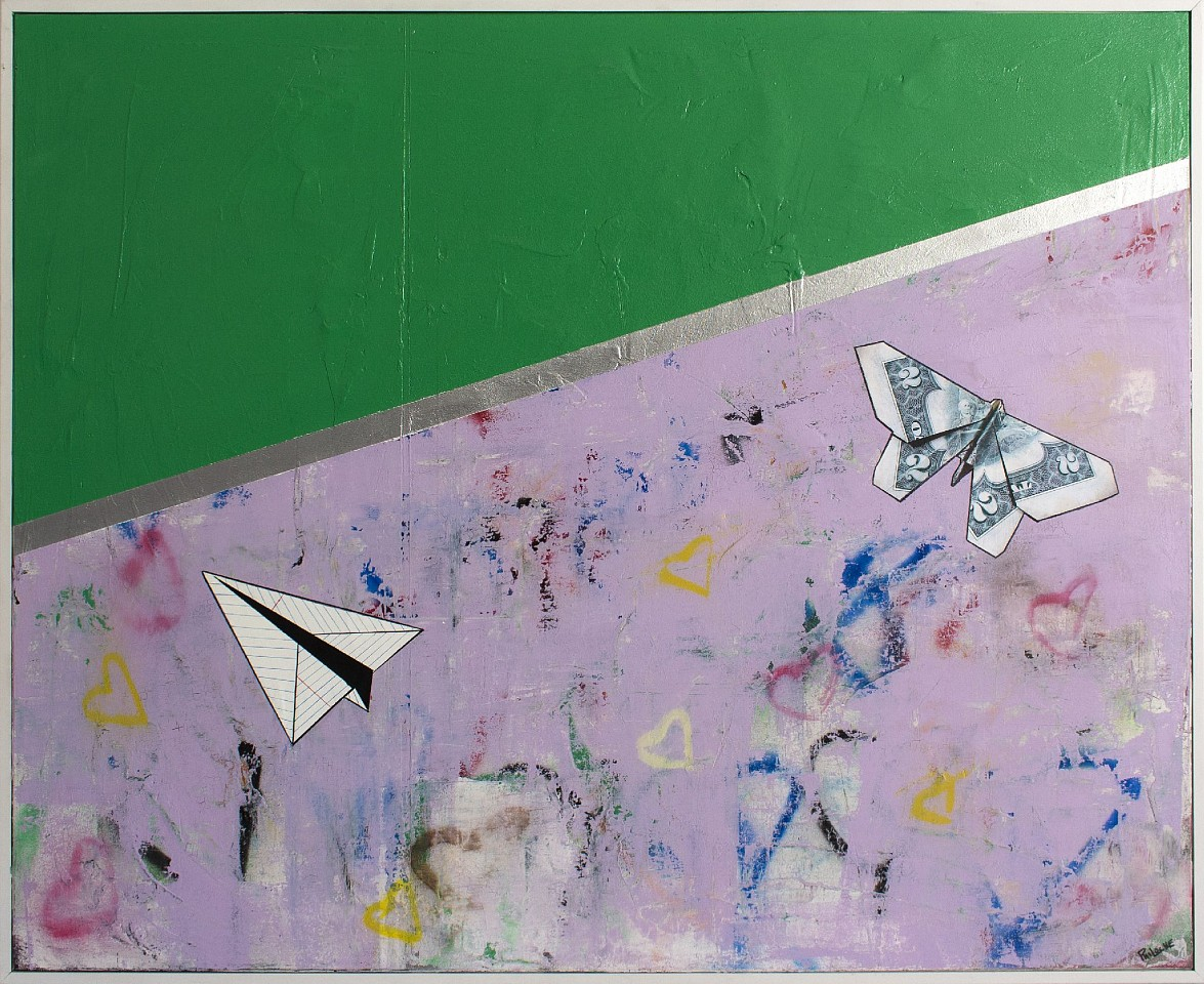 Guy Stanley Philoche ,   Leaf Green with Paper Airplane and Two Dollar Bill  ,  2019     mixed media on canvas ,  48 x 60 in. (121.9 x 152.4 cm)     GSP191005