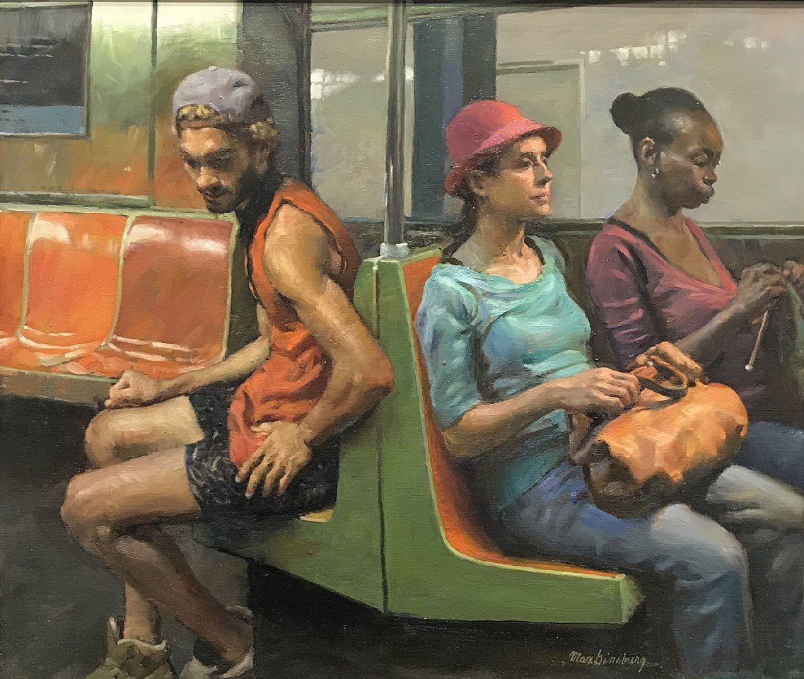 Max Ginsburg ,   Subway Trio  ,  2019     oil on canvas ,  21 1/2 x 25 1/2 in. (54.6 x 64.8 cm)     MG191001