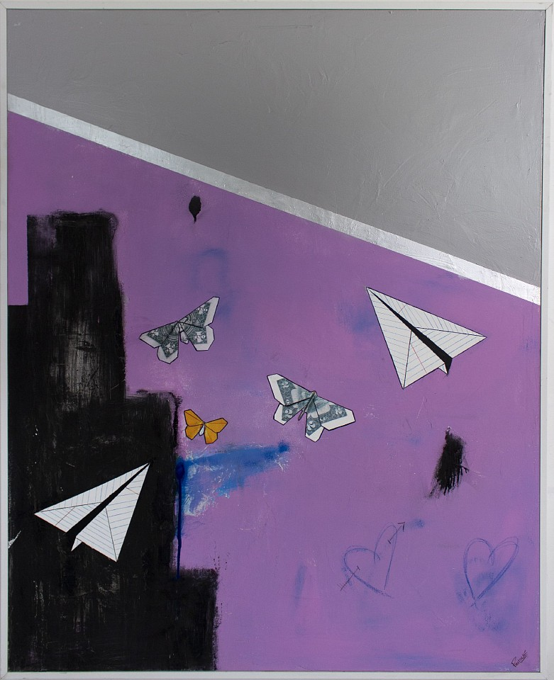 Guy Stanley Philoche ,   Grey with Two Paper Airplanes and Two Money Butterflies  ,  2019     mixed media on canvas ,  60 x 40 in. (152.4 x 101.6 cm)     GSP191006