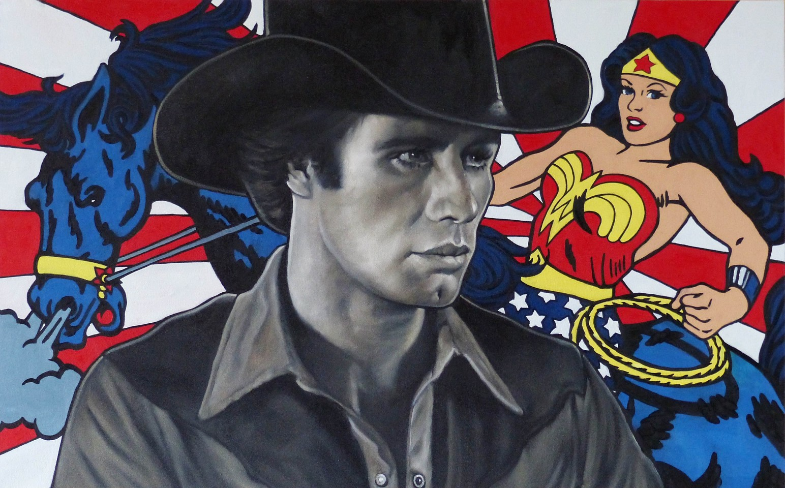 William Nelson ,   Red, White, Blue and the Golden Lasso of Truth  ,  2019     oil on canvas ,  30 x 48 in. (76.2 x 121.9 cm)     WN191001