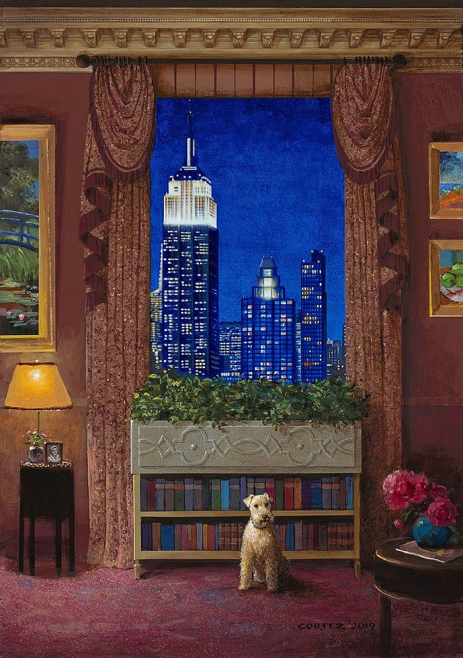 Jenness Cortez ,   Manhattan Night Light  ,  2019     acrylic on mahogany panel ,  17 x 12 in. (43.2 x 30.5 cm)     JC191113