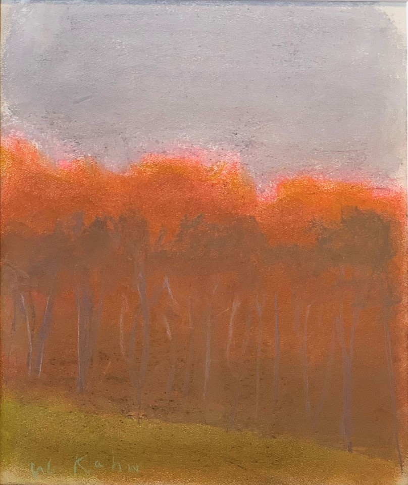 Wolf Kahn ,   Red Against Grey Sky  ,  2009     pastel on paper ,  9 1/2 x 8 in. (24.1 x 20.3 cm)     WK191101