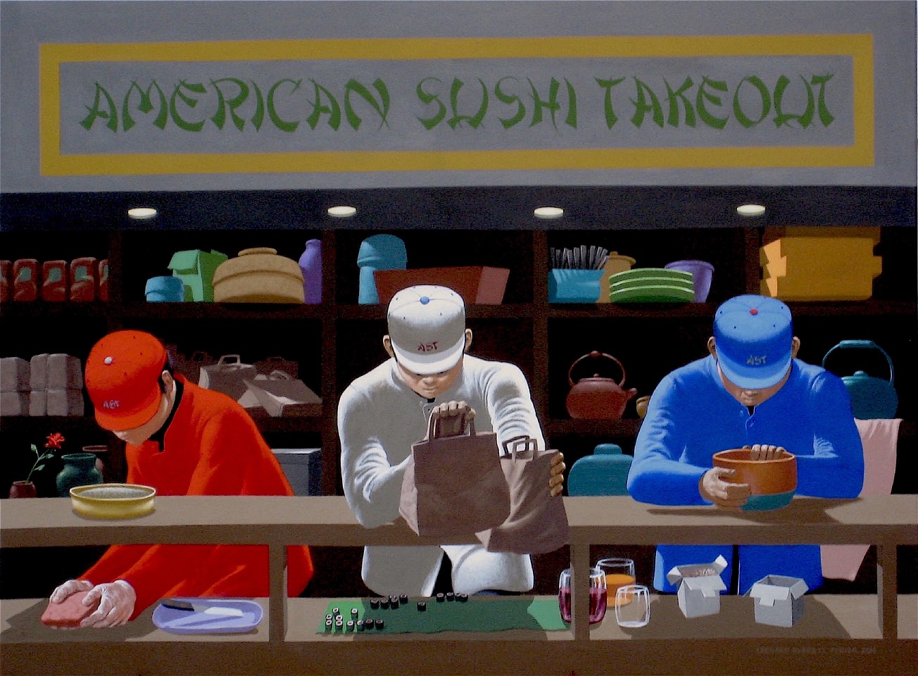 Leonard Everett Fisher ,   American Sushi Take Out  ,  2019     acrylic on canvas ,  36 x 48 in. (91.4 x 121.9 cm)     LES190601