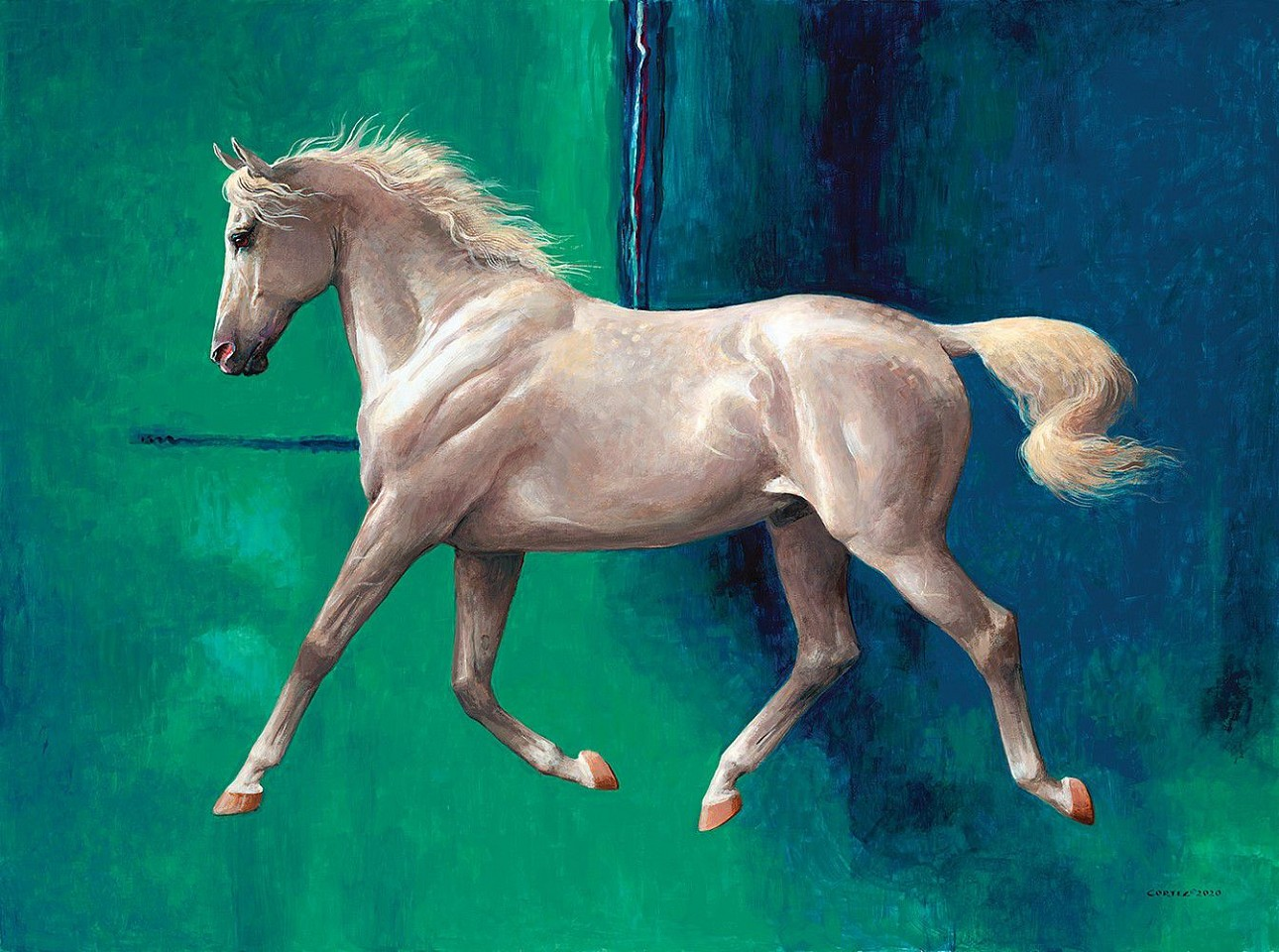 Jenness Cortez ,   The Whitest Horse Blue #1  ,  2020     acrylic on mahogany panel ,  30 x 40 in. (76.2 x 101.6 cm)     JC200201