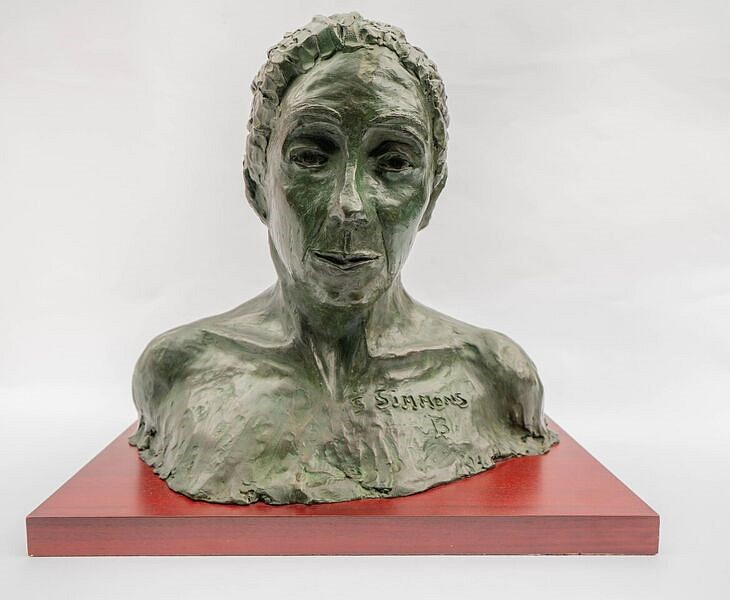 Steven Simmons ,   Lost in Thought      bronze ,  16 1/2 x 17 1/2 x 11 1/2 in.