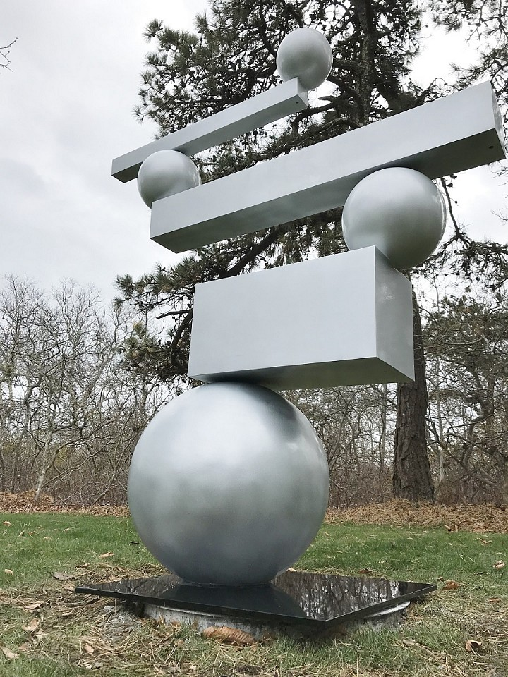 Steven Simmons ,   Sphere and Block      aluminum ,  73 x 62 in.