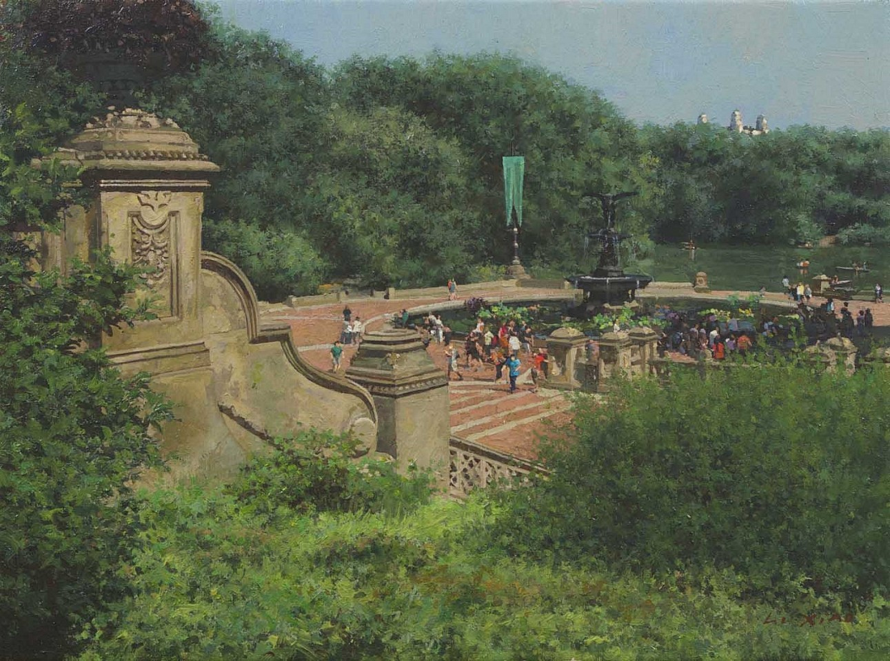Li Xiao ,   Summer at Bethesda Fountain  ,  2015     oil on canvas ,  12 x 16 in. (30.5 x 40.6 cm)     LX151001