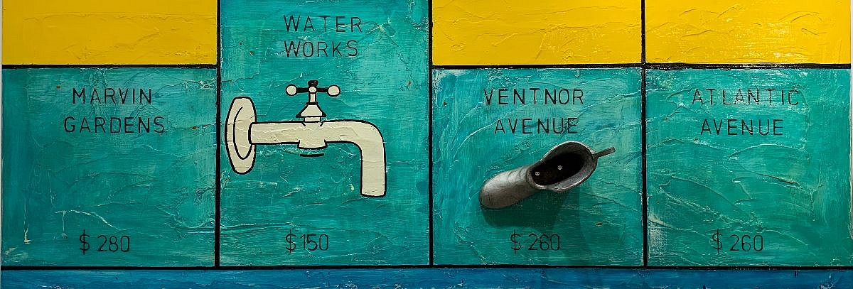 Guy Stanley Philoche ,   Monopoly Water Works  ,  2020     mixed media on board ,  36 x 80 in. (91.4 x 203.2 cm)     GSP200102