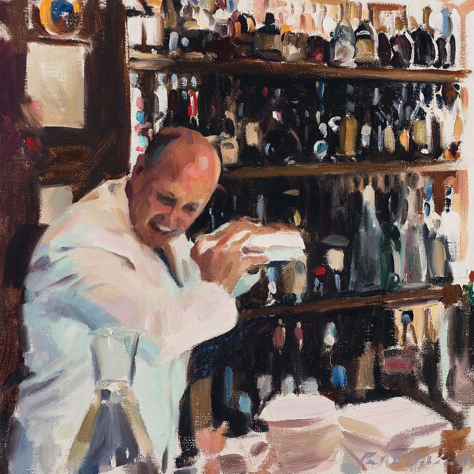 Paul Oxborough ,   Martini Shaker  ,  2020     oil on linen ,  14 x 14 in. (35.6 x 35.6 cm)     [SOLD]