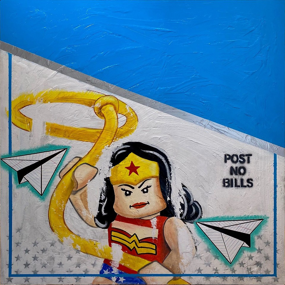 Guy Stanley Philoche ,   LEGO Wonder Woman  ,  2020     mixed media on board ,  48 x 48 in. (121.9 x 121.9 cm)     GSP200503