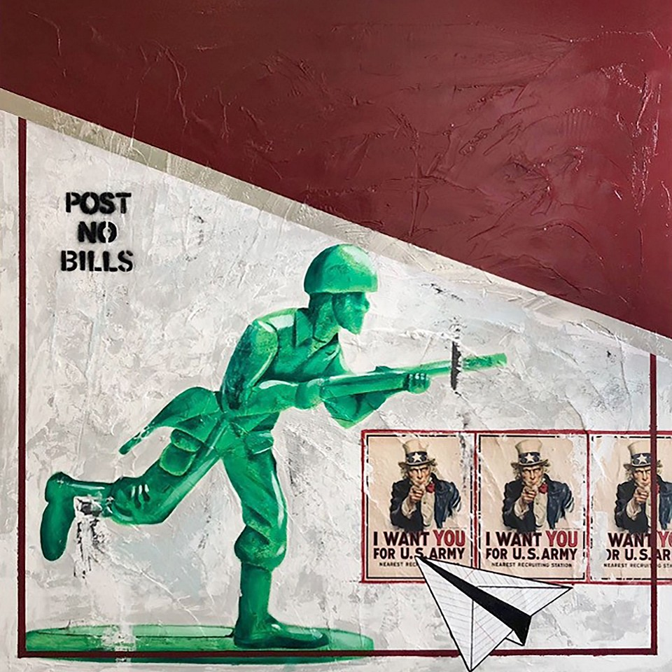 Guy Stanley Philoche ,   Toy Soldier  ,  2020     mixed media on board ,  48 x 48 in. (121.9 x 121.9 cm)     GSP200601
