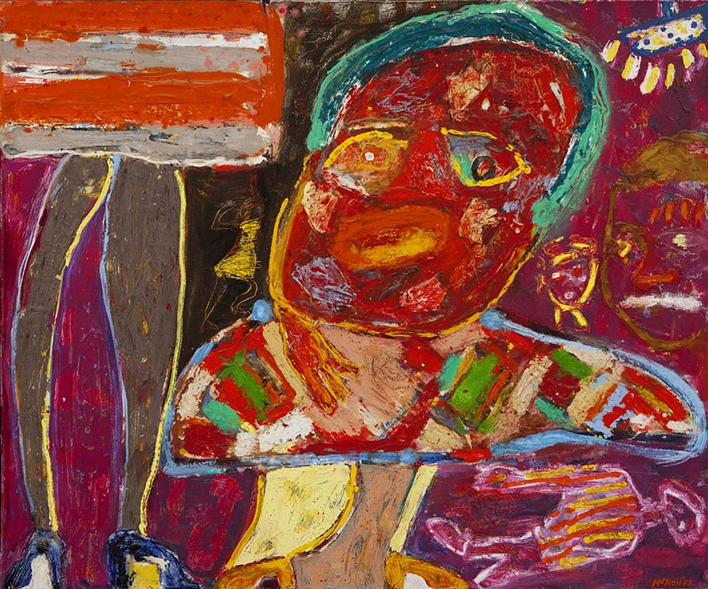 George McNeil ,   Well  ,  1982     oil on canvas ,  40 x 48 in. (101.6 x 121.9 cm)     GM140902
