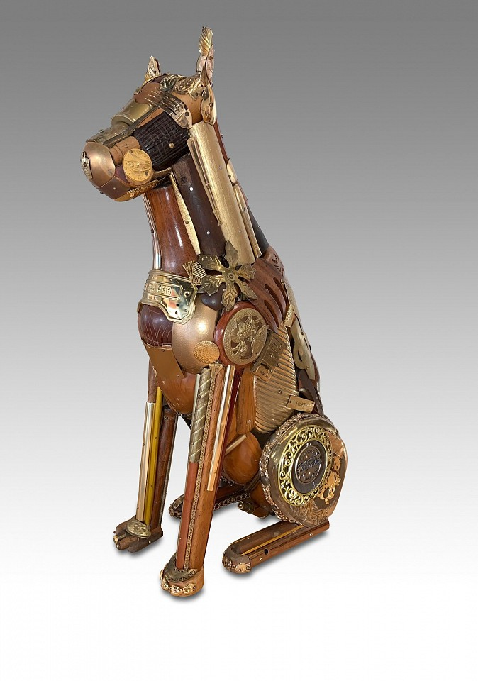 Leo Sewell ,   Gold Boxer  ,  2020     mixed media ,  30 x 8 x 17 in. (76.2 x 20.3 x 43.2 cm)     LS201005