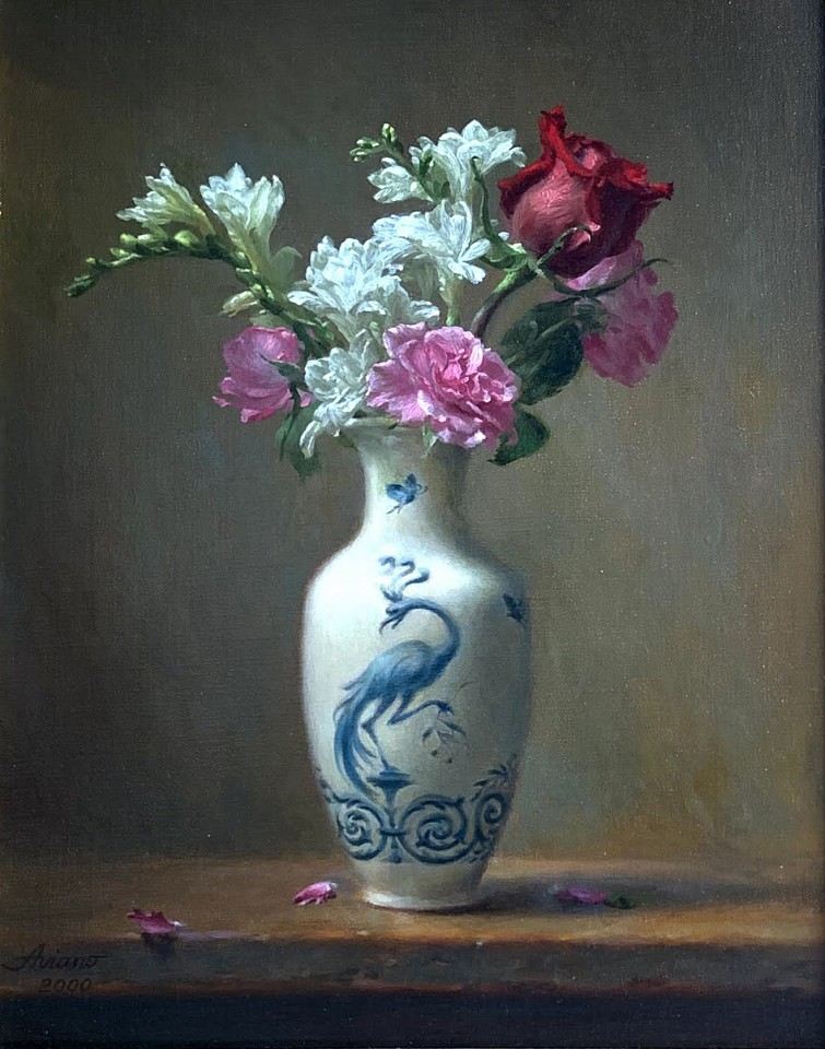 Michael Aviano ,   Bird and Butterfly in Vase      oil on canvas ,  16 x 12 in. (40.6 x 30.5 cm)     MA201001
