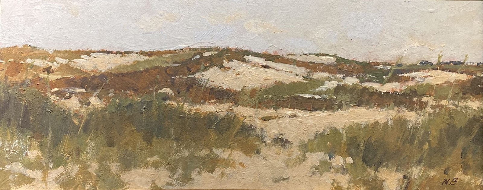 Nicholas Berger ,   Dune Path  ,  2020     oil on panel ,  4 3/4 x 11 in. (12.1 x 27.9 cm)     NB200505