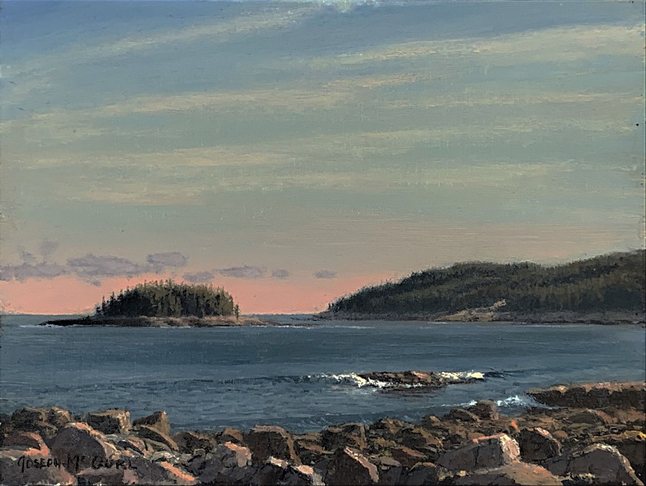 Joseph McGurl ,   Field Painting: Day is Done, the Coast of Maine  ,  2018     oil on linen panel ,  9 x 12 in. (22.9 x 30.5 cm)     JM200422