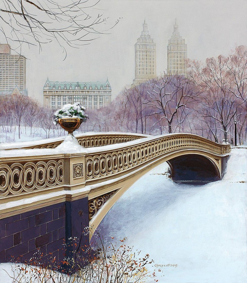 Jenness Cortez ,   The Bow Bridge in Winter  ,  2019     acrylic on mahogany panel ,  15 x 13 in. (38.1 x 33 cm)     JC191107