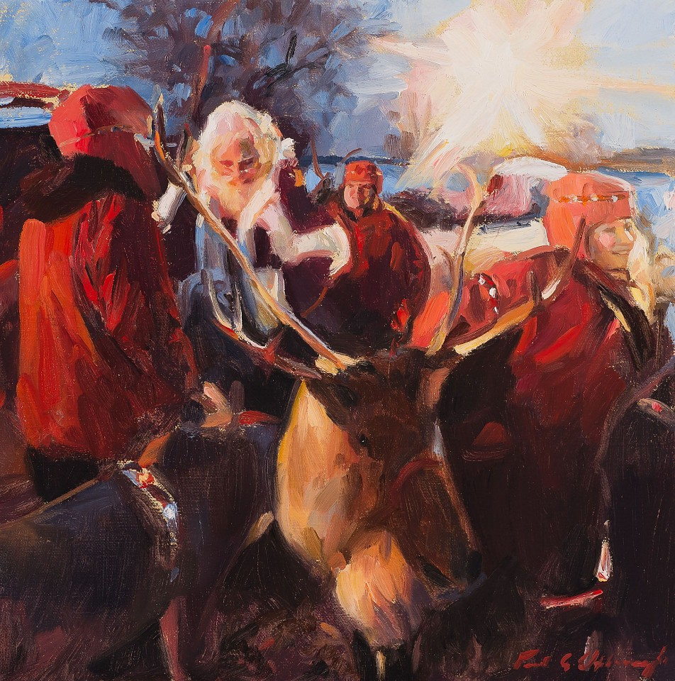 Paul Oxborough ,   Ole Saint Nick  ,  2020     oil on linen ,  12 x 12 in. (30.5 x 30.5 cm)     PO201104